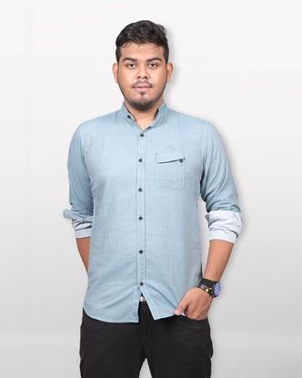 Picture of Lavelux Cotton Casual Long Sleeve Shirt - Dark Cyan