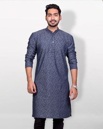 Picture of Lavelux Cotton Casual Panjabi - Black and Gray