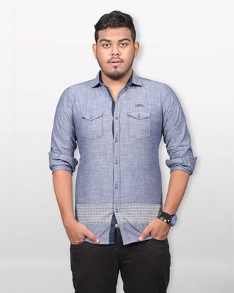 Picture of Lavelux Cotton Casual Long Sleeve Shirt - Bluish Grey
