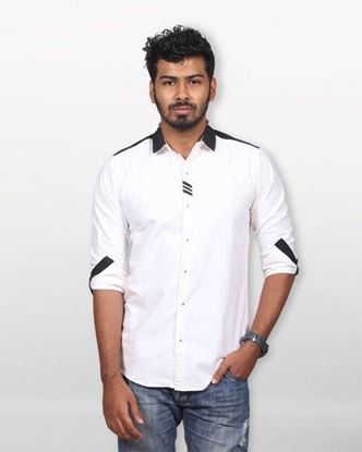 Picture of Lavelux Cotton Casual Long Sleeve Shirt - Black and White