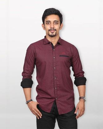 Picture of Lavelux Cotton Casual Long Sleeve Shirt - Black and Light Red