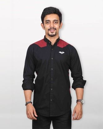 Picture of Lavelux Cotton Casual Long Sleeve Shirt - Black and Maroon