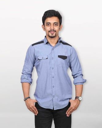 Picture of Lavelux Cotton Casual Long Sleeve Shirt - Moonstone Blue