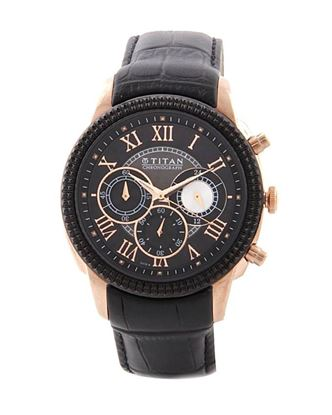 Picture of Titan 1489KL01 Leather Orion Chronograph Watch for Men - Black