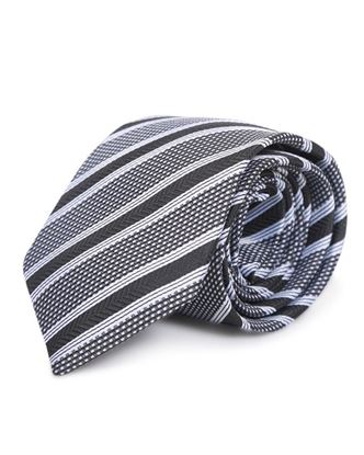 Picture of Yamin Exclusive Silk Casual Tie - Black and Silver Stripe