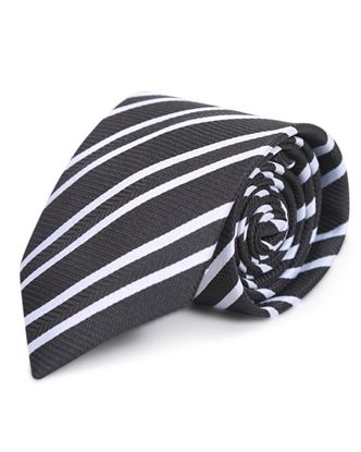 Picture of Yamin Exclusive Silk Casual Tie - Black and White Stripe