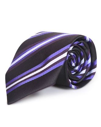 Picture of Yamin Exclusive Silk Casual Tie - Black and Violet Stripe