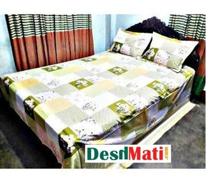 Picture of HOME TEX khaki set of bed sheets and white (Bad sheet set Dark Khaki & White)code#2267