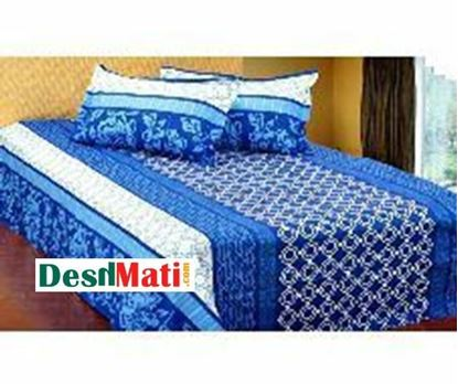 Picture of HOME TEX White & Cobalt Blue Bed Sheet & two Cover code#2271