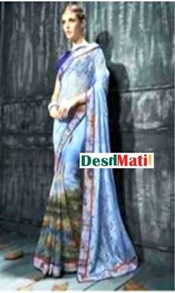 Picture of Original Indian Sharee Dark Cyne & Dark Gray
