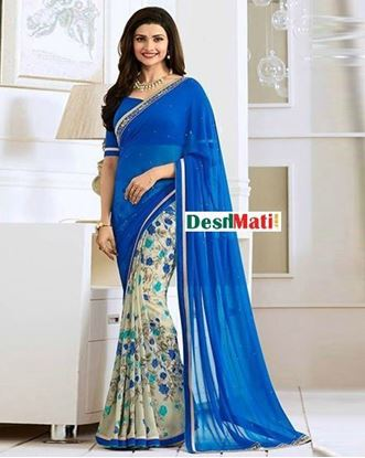 Picture of Original Indian Georgette Printed Saree - Blue and Beige