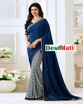 Picture of Original Indian  Georgette Partywear Printed Saree - Blue and Grey