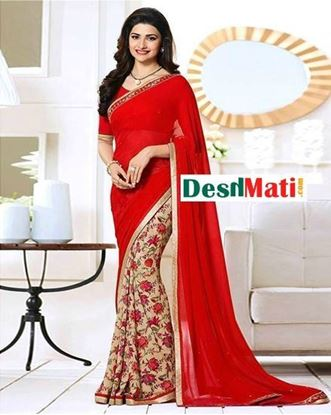 Picture of Original Indian  Georgette Partywear Printed Saree - Red and Beige