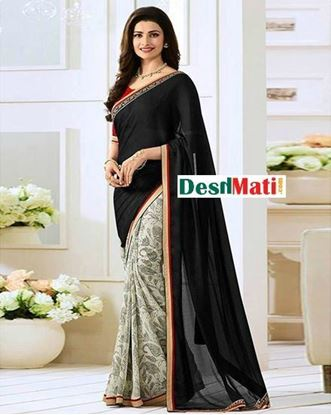 Picture of Original Indian  Georgette Partywear Printed Saree - Black and Off White