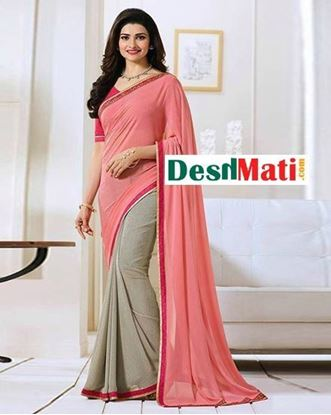 Picture of Original Indian  Georgette Partywear Printed Saree - Pink and Beige