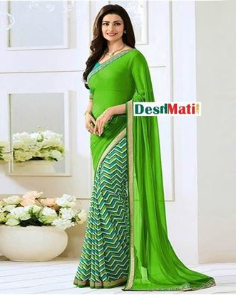 Picture of Original Indian  Georgette Partywear Printed Saree - Green