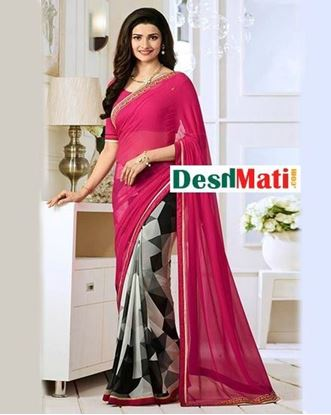 Picture of Original Indian  Georgette Partywear Printed Saree - Magenta and Grey