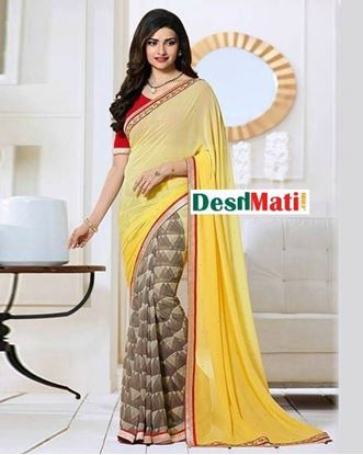 Picture of Original Indian  Georgette Partywear Printed Saree - Beige and Yellow