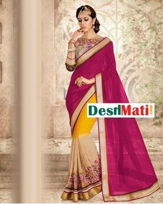 Picture of Original Indian Georgette Party Wear Designer Saree - Beige and Magenta  By Ishi Maya