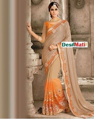 Picture of Original Indian Georgette and Net Party Wear Designer Saree - Orange and Beige