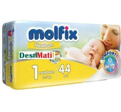 Picture of Molfix Baby Diapers (Balt System) 1 New Born (2-5kg) 44 pcs