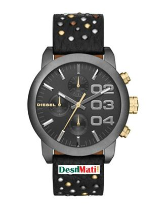 Picture of DIESEL Leather Chronograph Watch For Women - Black