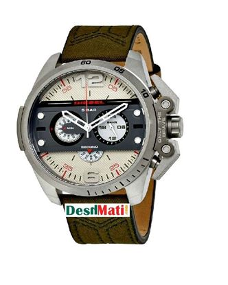 Picture of DIESEL Leather Quartz Chronograph Watch for Men - Dark Golden