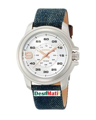Picture of DIESEL Leather Quartz Analog Watch for Men - Navy