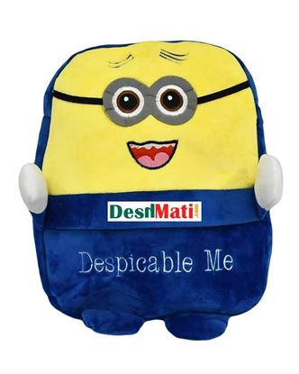 Picture of Toy Land Plush Minions Soft School Bag - Blue And Yellow