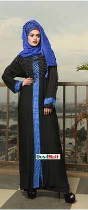 Picture of Raka Fashion Exclusive Women's Black inside Blue Border Borka Code#9014