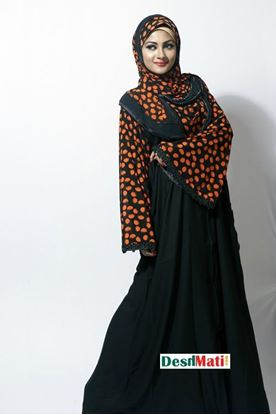 Picture of Raka Fashion Exclusive Women's Black in Orange Party Borka Code#9012