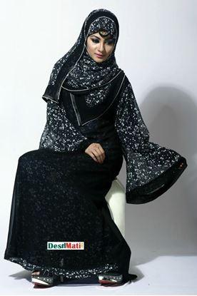 Picture of Raka Fashion Exclusive Women's Black in White Printed Borka Code#9003