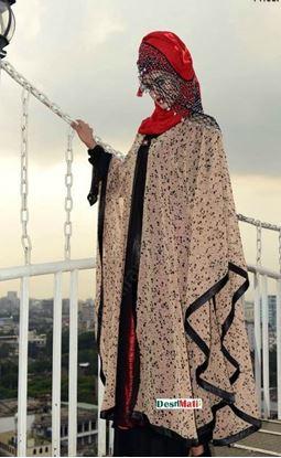 Picture of Raka Fashion Exclusive Women's Printed Abaya Cream Color Code#9502