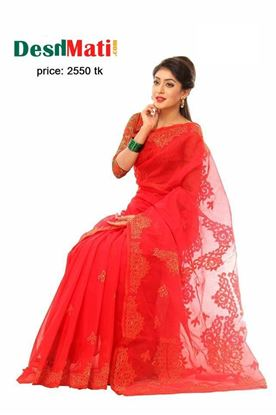 Picture of Raka Fashion Exclusive silk saree with gorgeous embroidery-applique work code#6021