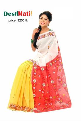 Picture of Raka Fashion Exclusive silk saree with gorgeous embroidery-applique work code#6022