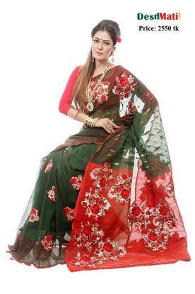 Picture of Raka Fashion Exclusive  Half silk jamdani saree with applique work.