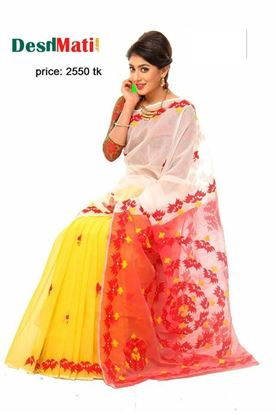 Picture of Raka Fashion Exclusive silk saree with gorgeous embroidery-applique work code#6034