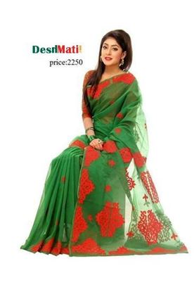 Picture of Raka Fashion Exclusive silk saree with embroidery-applique work.6036