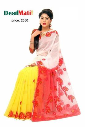 Picture of Raka Fashion Exclusive silk saree with gorgeous embroidery-applique work code#6039