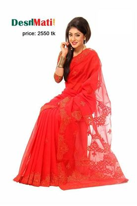 Picture of Raka Fashion Exclusive saree with gorgeous embroidery-applique work code#6040