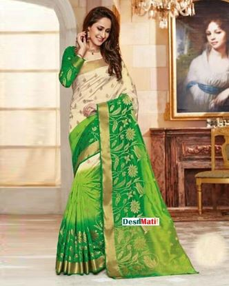 Picture of Rajguru Green and Off White Silk Katan Saree