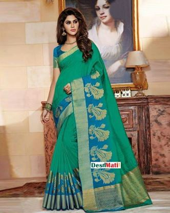 Picture of Rajguru Light Green Silk Katan Saree