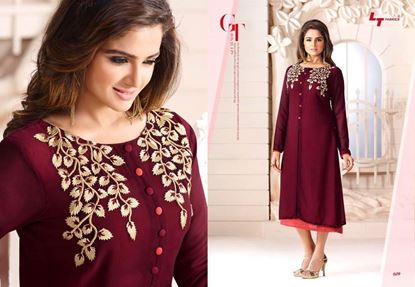 Picture of LT Fabrics Indian Copy Kurti Wine & Cream