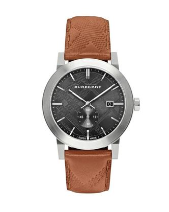 Picture of Burberry Leather Chronograph Watch for Men - Brown