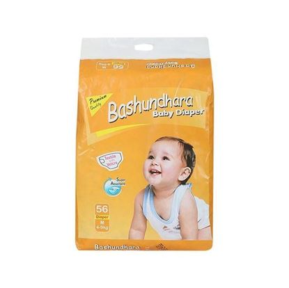Picture of  Bashundhara Baby Diaper Jumbo Series M 4-9 Kg - 56Pcs