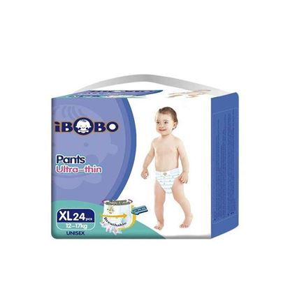 Picture of IBOBO Super Absorbency and Ultra Thin Baby Diaper XL (12-17 KG) - 24 Pcs
