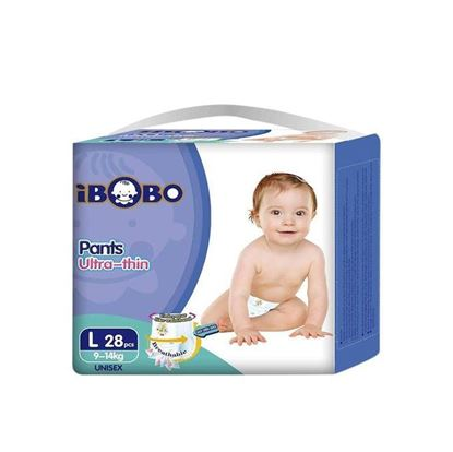 Picture of IBOBO Super Absorbency and Ultra Thin Baby Pant Diaper L (9-14 KG) - 28 Pcs