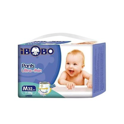 Picture of IBOBO Super Absorbency and Ultra Thin Baby Diaper M (7-12 KG) - 32 Pcs