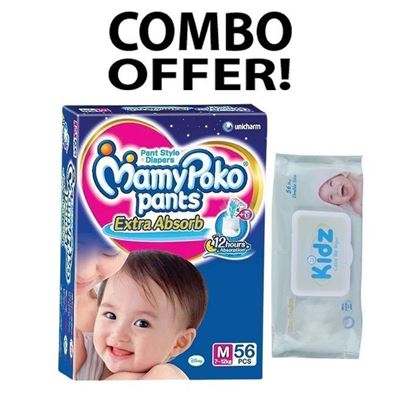 Picture of MamyPoko Pant System Baby Diaper M(7-12)kg - 56 Pcs with Kidz Cotton wet Wipes - 56 Pcs