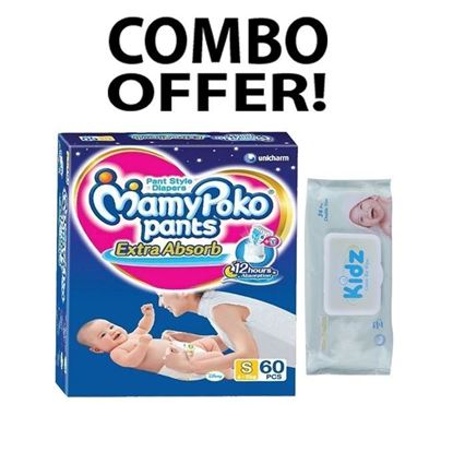 Picture of MamyPoko Pant System Baby Diaper S(4-8)kg - 60 Pcs with Kidz Cotton wet Wipes - 56 Pcs